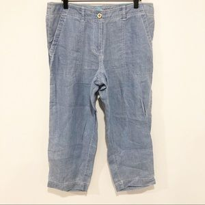 Tommy Bahama chambray linen cropped pants 10